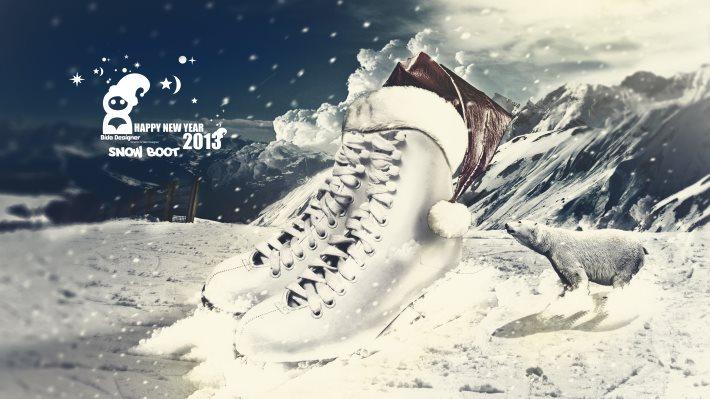 Wallpaper: Snow Boot Digital ART