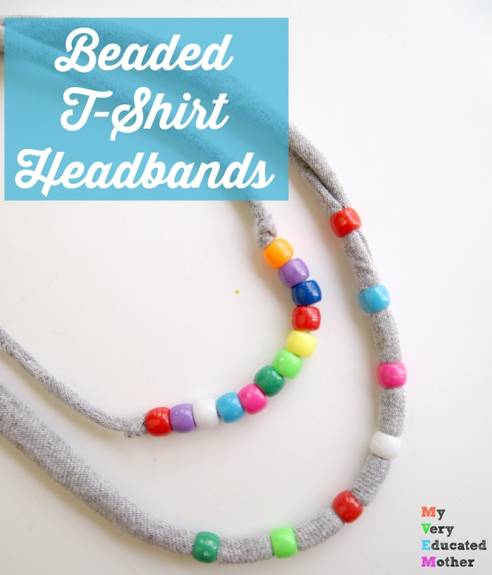 Old t-shirts and pony beads come together to make awesome summertime headbands!