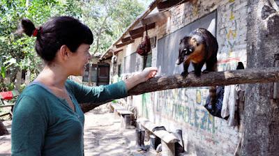 Mónica con un tejón en el proyecto de Bolivia.