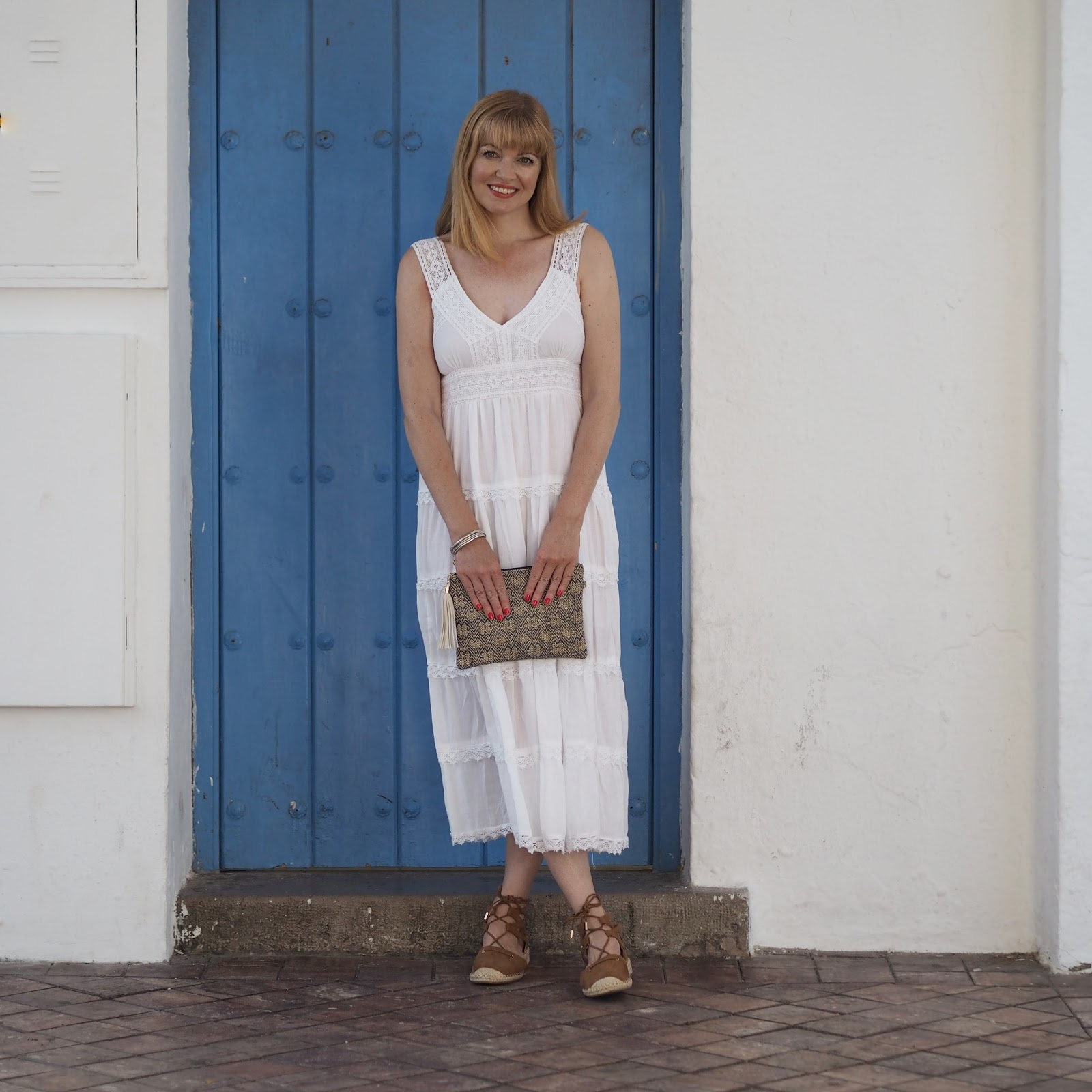 White summer midi dress and espadrilles, Nerja