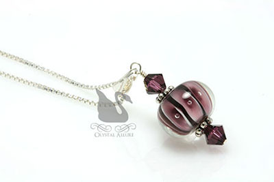 Amethyst Crystal Lampwork Pendant Necklace (P01)