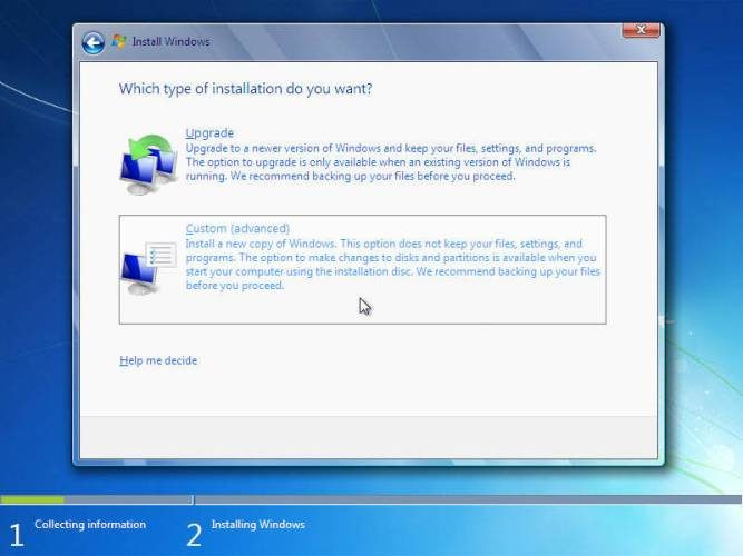 cara instal windows 7 advanced