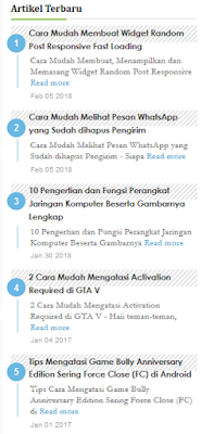 Cara Membuat Widget Recent Post di Blog