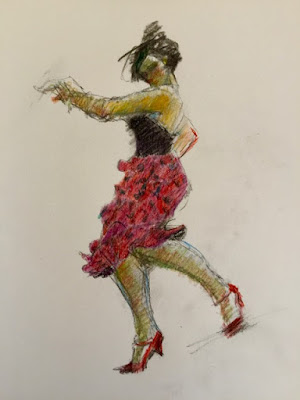 Female dancer in flowered skirt kicking foot back in colored pencil with oil pastel