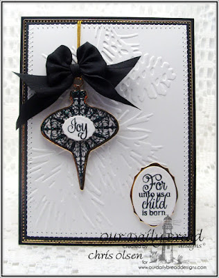 Our Daily Bread Designs, designed by Chris Olsen, Tree trimming trio stamps and dies, Elegant Embellishments stamp set, Elegant ovals die, Flourished Star Pattern die