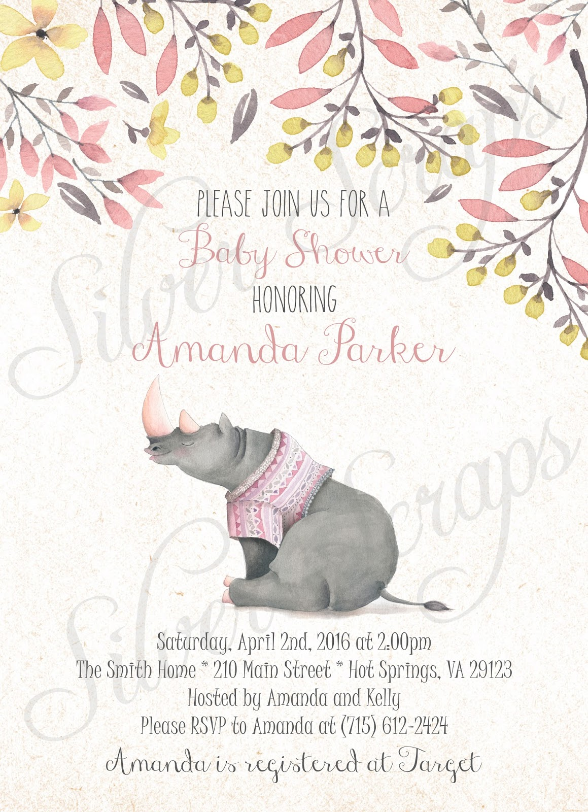 Finding Beauty in Life: Watercolor Rhinoceros Baby Shower and ...