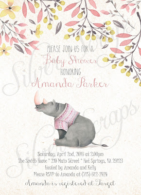 Floral Watercolor flowers and Rhinoceros Custom Baby Girl Shower Sprinkle Invitation - Grey Rhino Pink Peach Lavender Purple Flower Matching Back Floral zoo jungle animal safari sweet soft yellow gold buds flowering tree