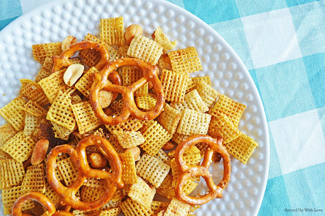 Chex Mix in the slow cooker plated from Served Up With Love