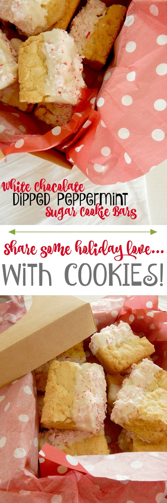 White Chocolate Dipped Peppermint Sugar Cookie Bars...a festive dessert for the holidays!  These peppermint sugar cookie bars taken up a notch dipped in white chocolate and sprinkled with crushed peppermints.  Perfect for your Christmas platter! (sweetandsavoryfood.com)