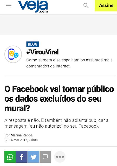 """O Facebook vai tornar público os dados excluídos do seu mural? A resposta é não. E também não adianta publicar a mensagem """"eu não autorizo"""" no seu Facebook"""