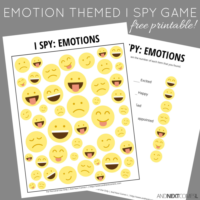 picture relating to Free Printable Emotion Faces named Experience Themed I Spy Recreation Free of charge Printable for Youngsters And