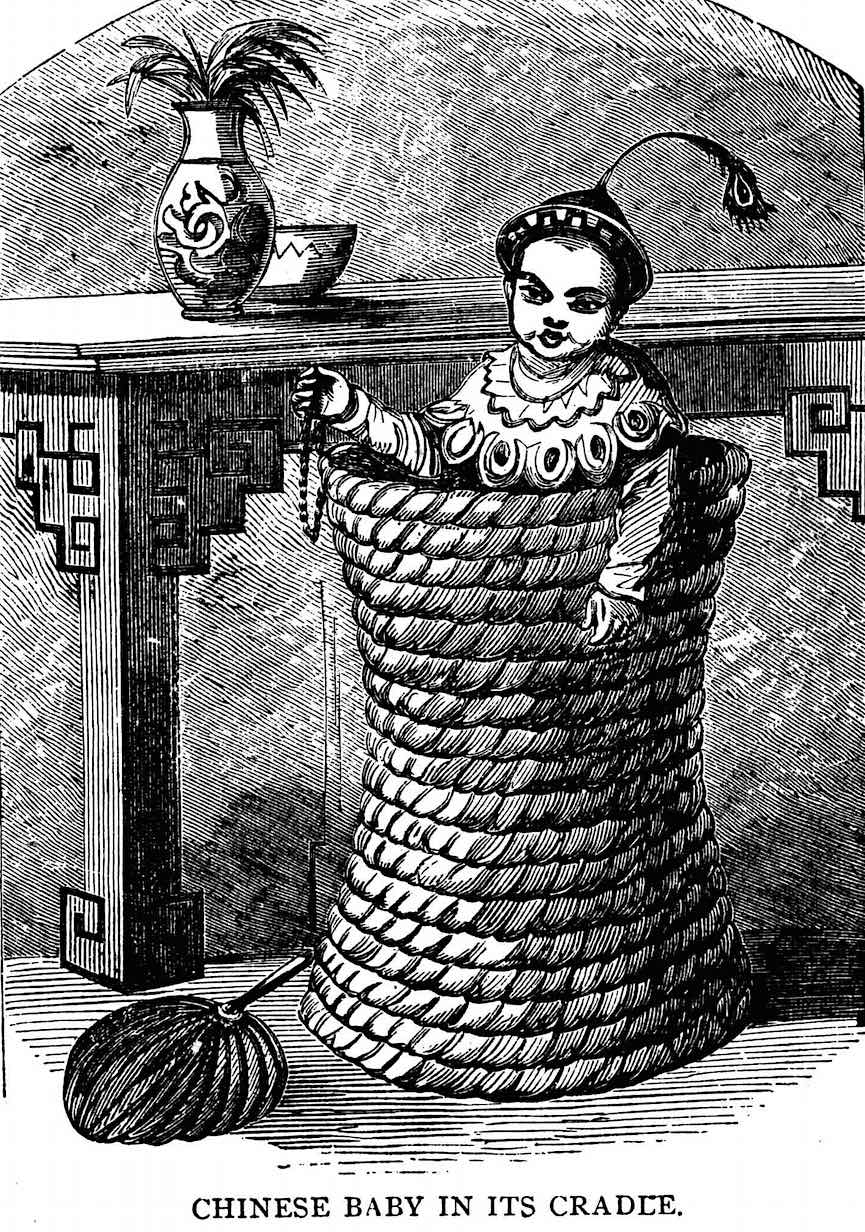 an illustration fron an 1800s book, a Chinese cradle 1600