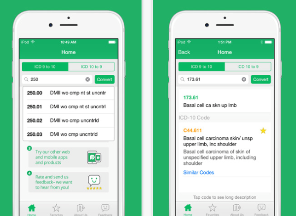 Quick ICD-10 App for iPhone and Android