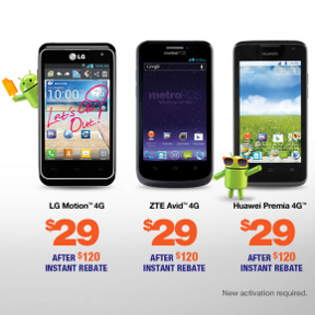 Closeout Pricing - $29 MetroPCS CDMA/LTE Android Phones