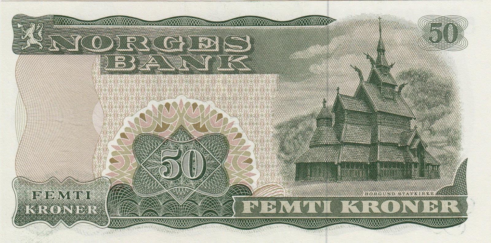 Norway Banknotes 50 Kroner note 1982 Borgund Stave Church