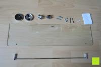 ausgepackt: Badablage mit Glasboden und verchromter Reling 50 x 14 cm