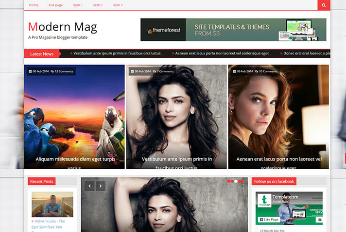 Modern Mag Free Blogger Template