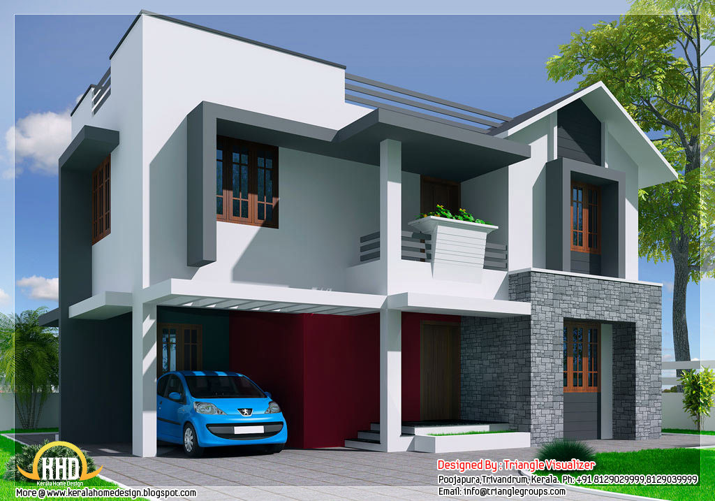Kerala style modern mix 3 bedroom house kerala home for Modern three bedroom house plans