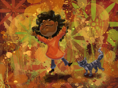 Fall Friends 2, Girl and Cat, by Traci Van Wagoner