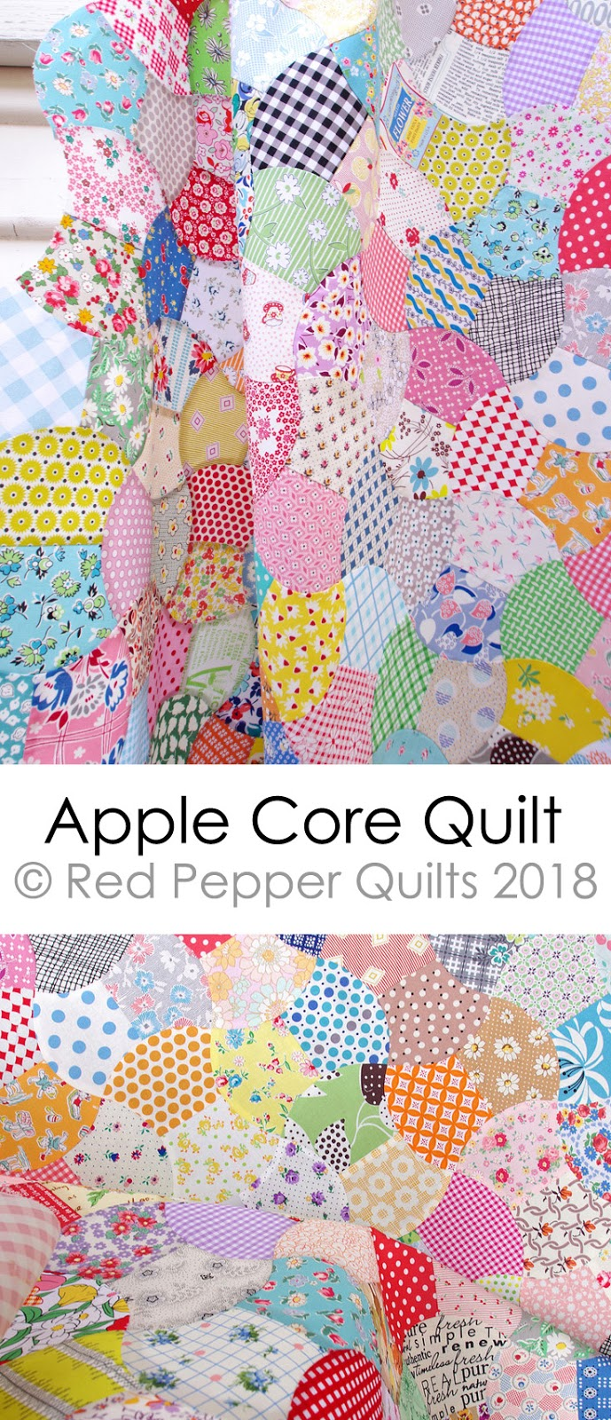 Apple Core Quilt - Machine Pieced | © Red Pepper Quilts 2018 #applecorequilt #patchworkquilt #vintageinspiredquilt #machinepieced