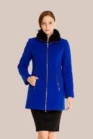 Palton albastru matlasat din stofa de lana 417 (Ama Fashion)