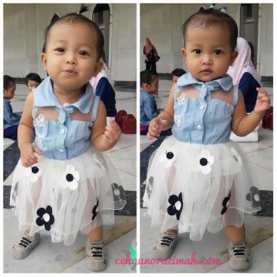 dhia zahra, bayi setahun, bayi comel, gown kanak-kanak comel, tutu skirt
