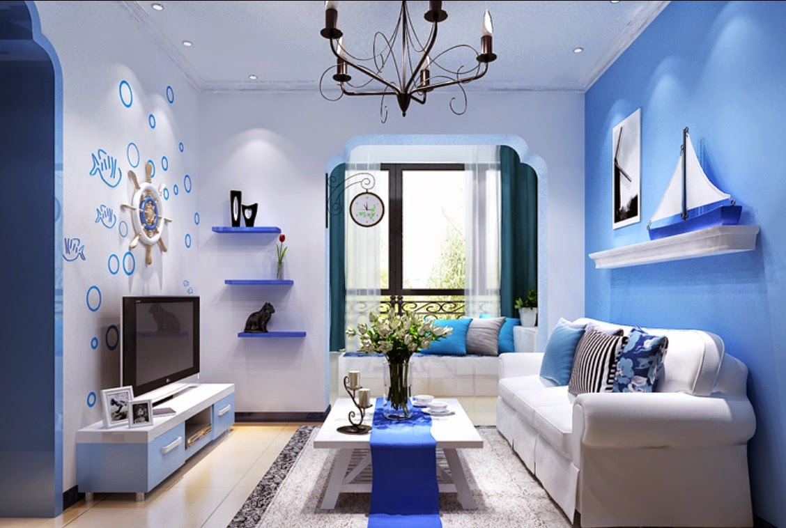 Desain Ruang Keluarga Warna Biru