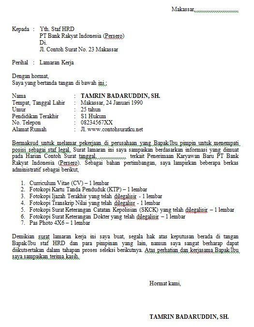 Contoh Surat Lamaran Kerja Untuk Bank BRI Terbaru MS Word