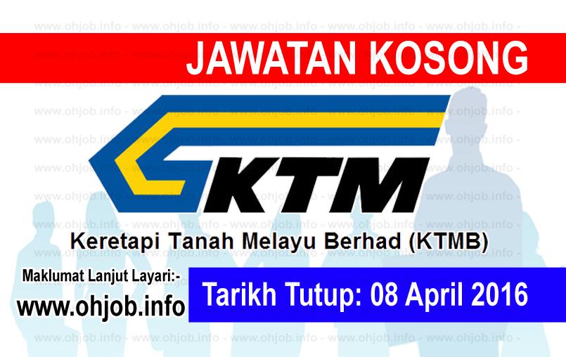 Jawatan Kerja Kosong Keretapi Tanah Melayu Berhad (KTMB) logo www.ohjob.info april 2016