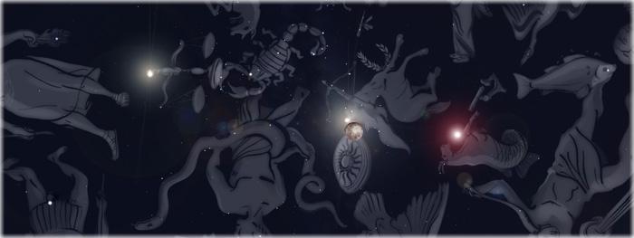 encontro entre Lua e uma estrela muito brilhante - os três planetas