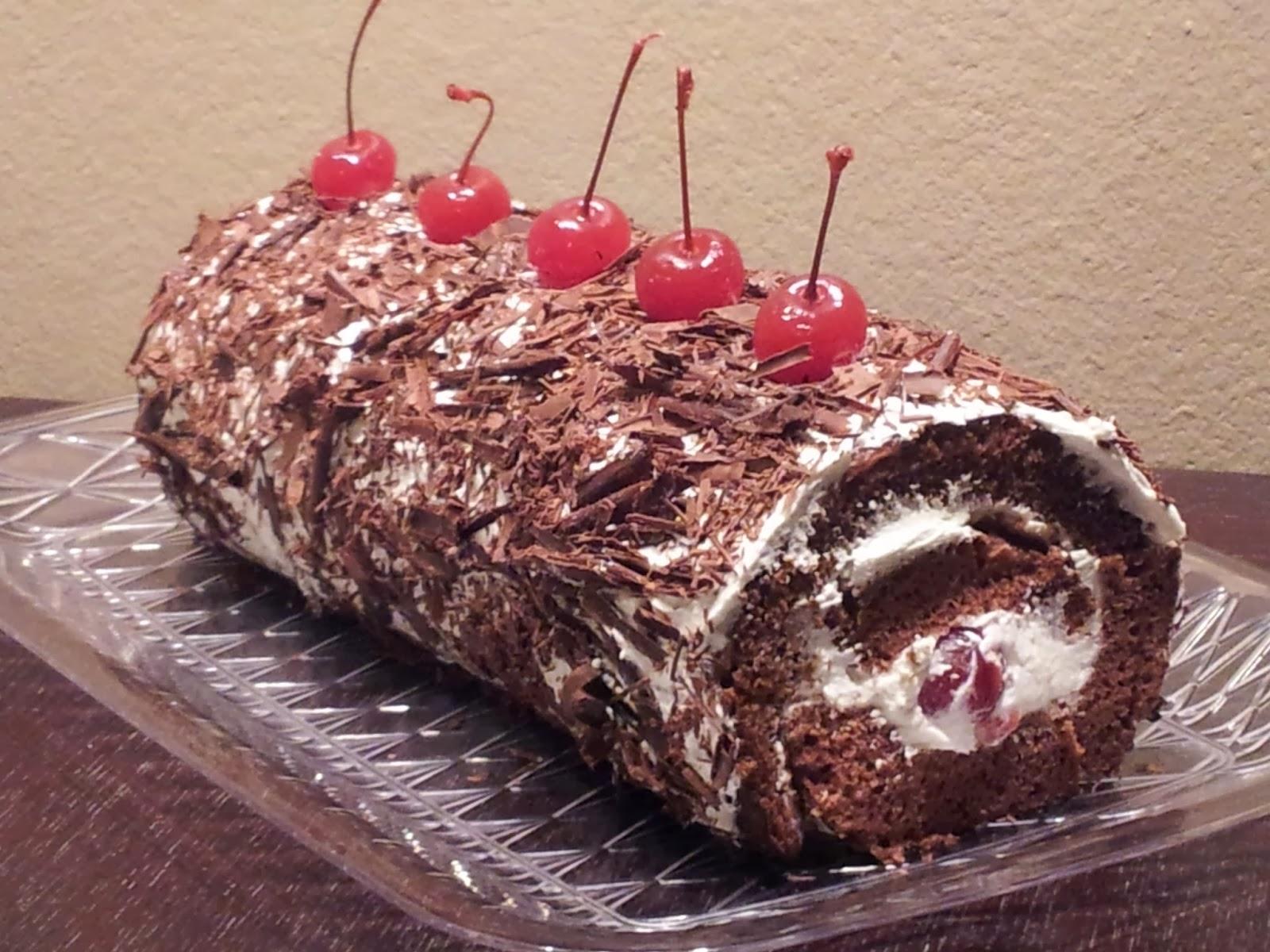 Black Forest Yule Log Cake Recipe