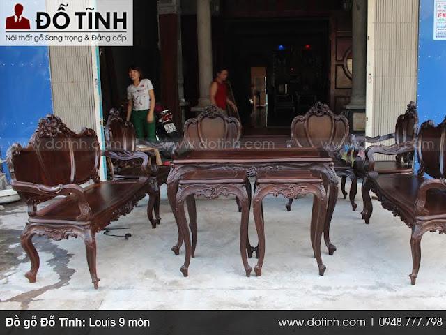 Bộ bàn ghế Louis 9 món - Bộ bàn ghế trường kỷ cổ đẹp Việt Nam