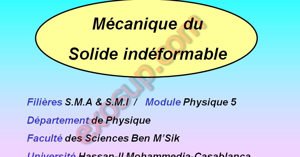Cours M U00e9canique Du Solide Pys5 S3 Smp