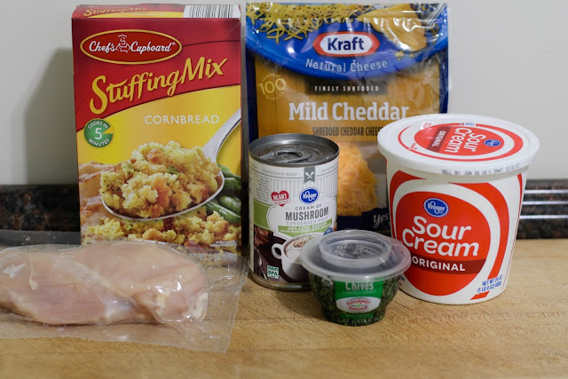 A picture of the ingredients needed to make the Chicken and Stuffing Casserole Recipe.