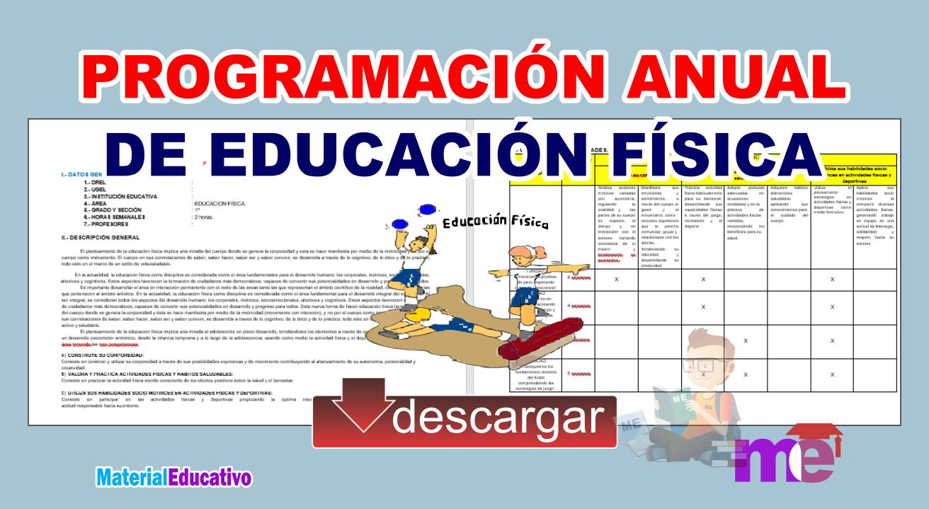 PROGRAMACIÓN ANUAL DE EDUCACIÓN FÍSICA ~ MATERIAL EDUCATIVO