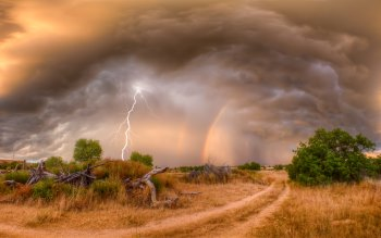 Wallpaper: Nature Lightning, Rainbow and Landscape