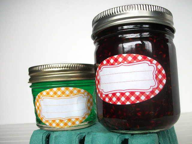 Classic Gingham Oval Canning Jar Labels