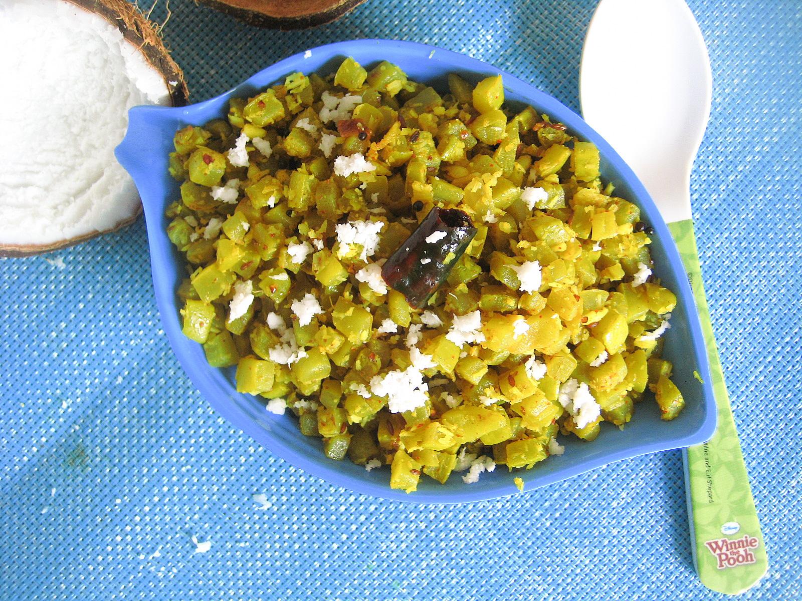 madhuri's kitchen: Snake Gourd Poriyal / Pudalangai ...