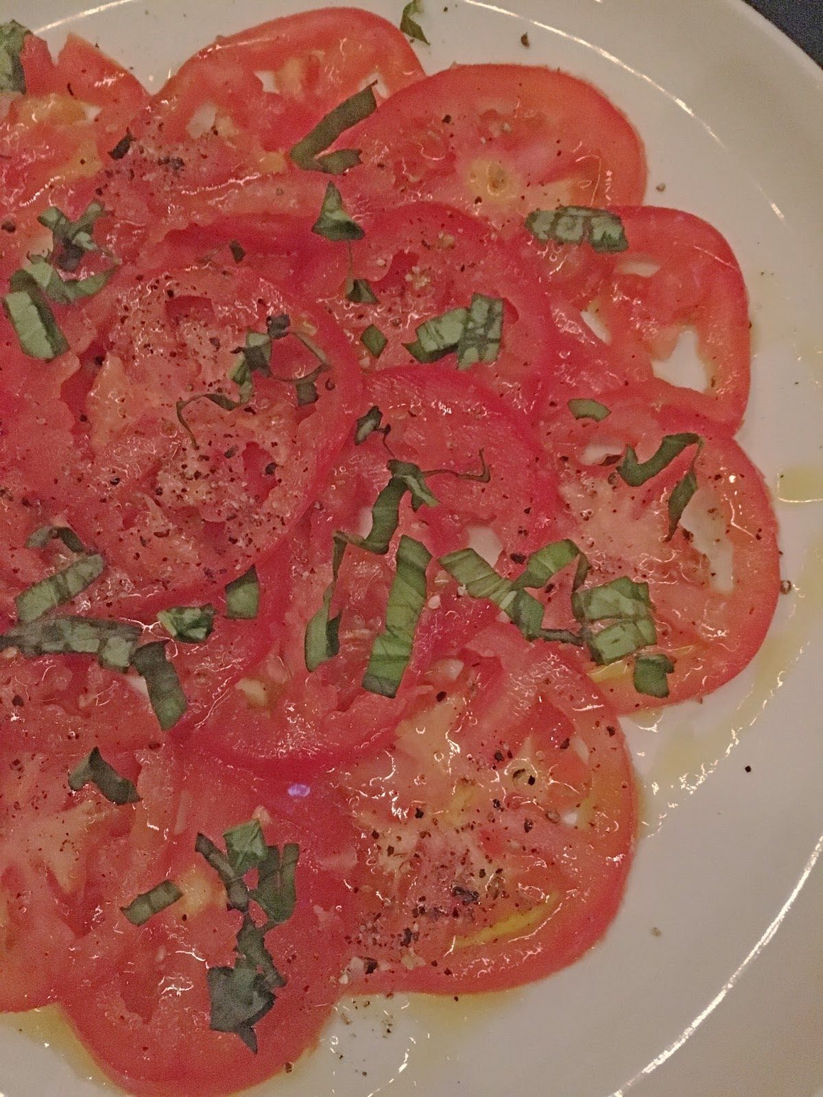 tomatoes with basil at Max's Wine Dive - a restaurant/bar in Fort Worth, Texas