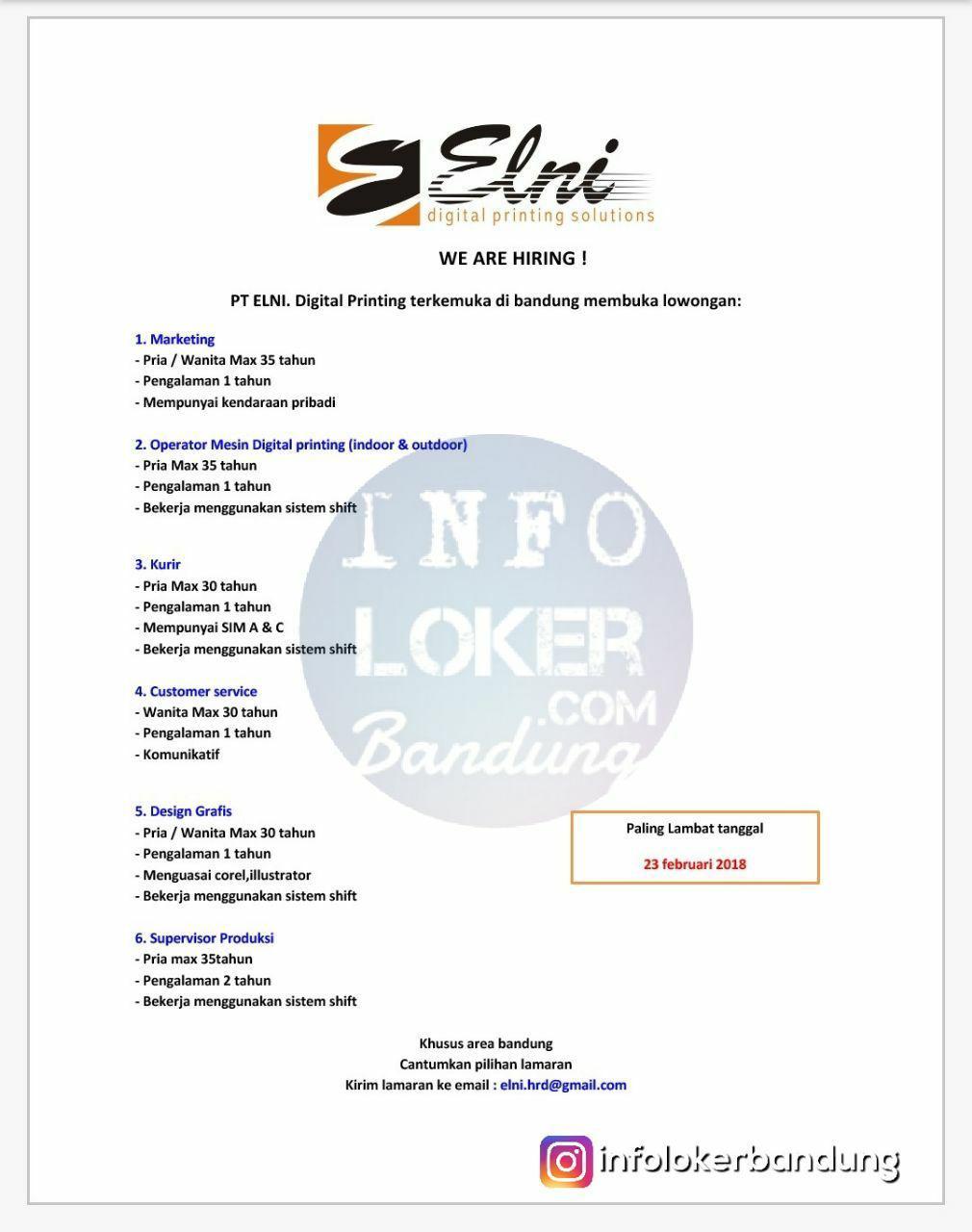 Lowongan Kerja PT. Elni Bandung Februari 2018
