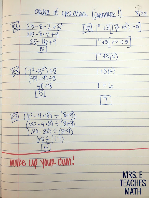 Order of Operations INB Page for Algebra 1