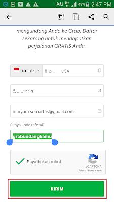 cara mengisi formulir pendaftaran di aplikasi grab