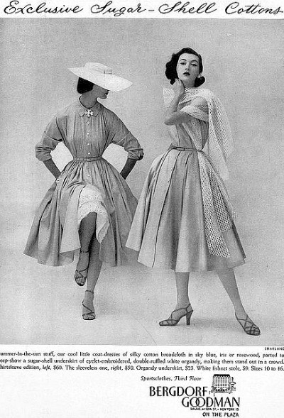 Two models for Bergdorf Goodman Ad for Shirtwaist Dresses in Sugar Shell Cottons