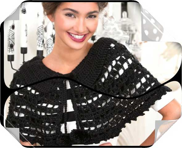 Capa crochet mistica con hilado negro para Halloween