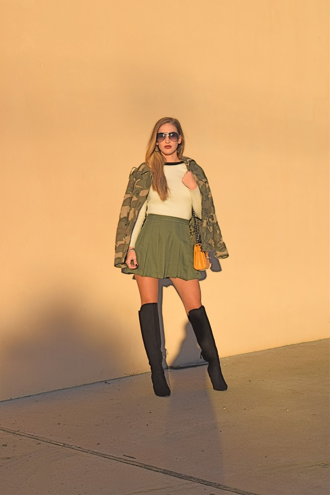 His and Her's matching camo jackets, his and her's outfits. forever21 olive green pleated skirt. Over the knee boots with pleated skirt, camo jacket with over the knee boots
