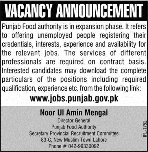 ovt Jobs in Punjab Food Authority Govt of Punjab, Today New Vacancies 2018