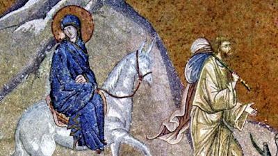 Joseph and the Blessed Virgin journey to Bethlehem