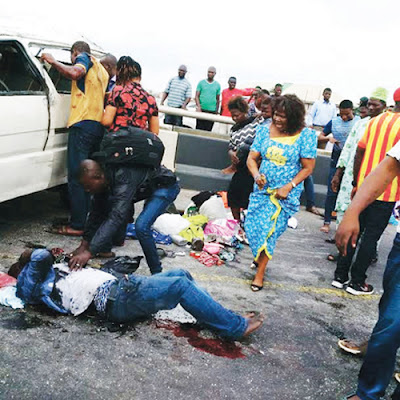 Graphic Photo of Three dead, 12 injured in Lagos multiple accidents