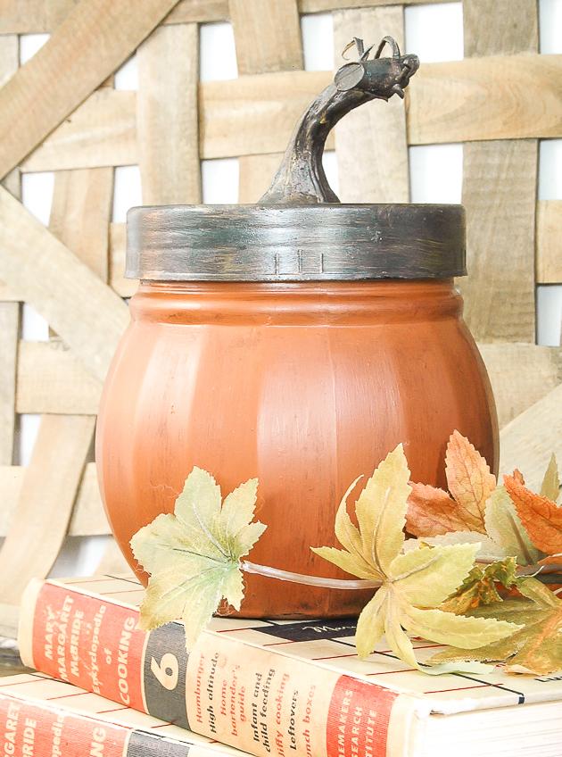 Dollar Tree glass candy jar turned pumpkin