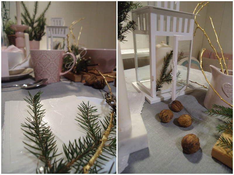 stół świąteczny, szarość lnu z kroplą złota i różu